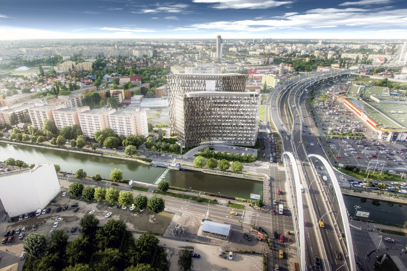 Rendering: ultra-modern designed office building located next to a river and overtowering the city of Bucharest